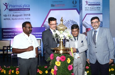 (L-R- Uday Bhaskar Reddy, Director General, PHARMEXCIL; Yogesh Mudras, Managing Director, UBM India; Dr R B Smarta, MD, Interlink Marketing Consultancy; Avinash Talwar, Director & Head, Global Sourcing (Strategic & Plant) Dr. Reddy's Laboratories Ltd)