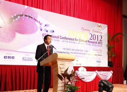 Malaysia's Minister of Health Mr Liow Tiong Lai at the opening of the 6th national conference for clinical research 2012