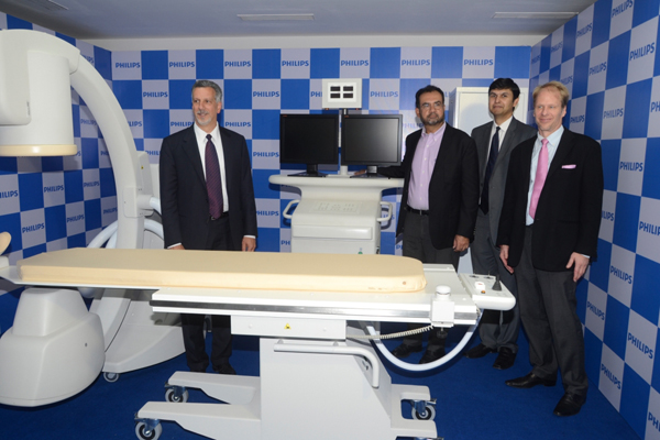 Mr Gene Saragnese, CEO, Imaging Systems at-Philips Healthcare, Mr Rajeev Chopra, MD & vice chairman, Philips India, Mr Krishna Kumar, president, Philips Healthcare India and Dr Wido Menhar