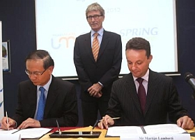 Singing the MoU - (L-R) Mr Ted Tan, deputy chief executive, SPRING Singapore, Mr Johannes Jansing, Ambassador of the Kingdom of Netherlands to Singapore and Mr Martijn Lamberti, CEO, Maastricht UMC Holding, The Netherlands